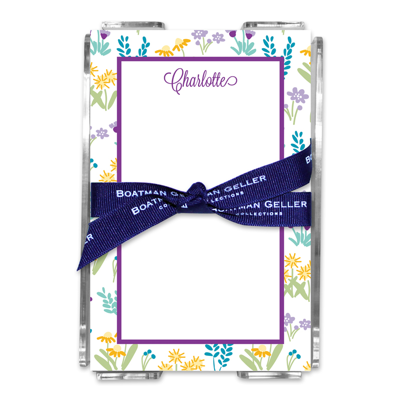 Personalized Flower Fields Purple Note Sheets in Acrylic Holder