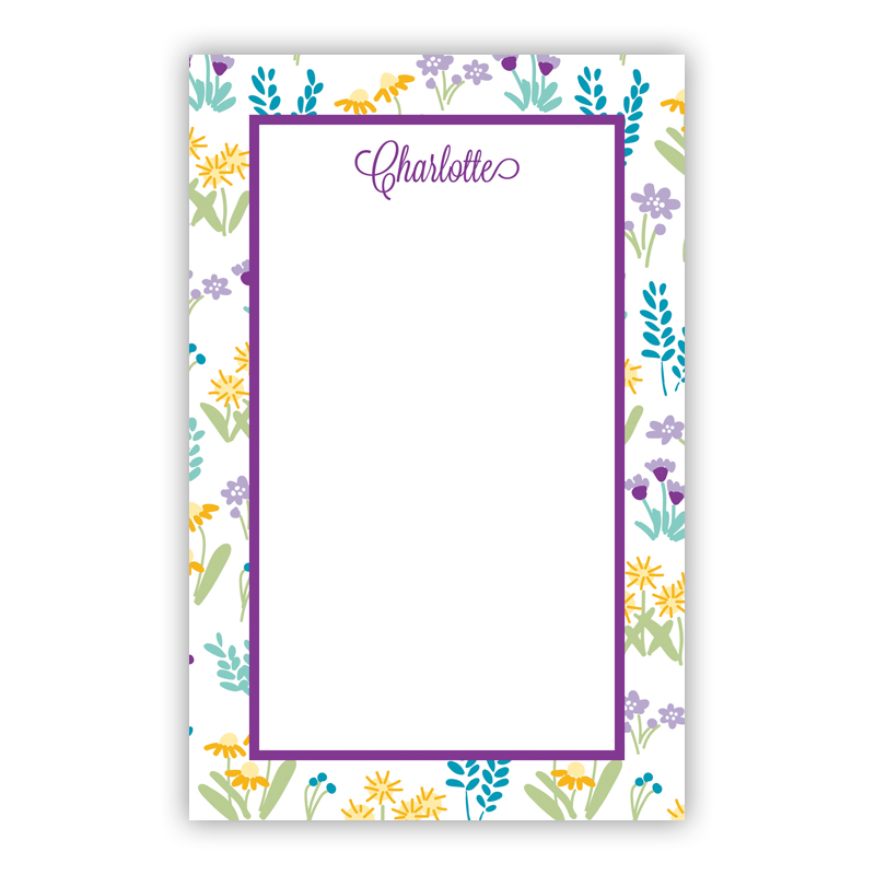 Flower Fields Purple 150 Refill Note Sheets, Personalized