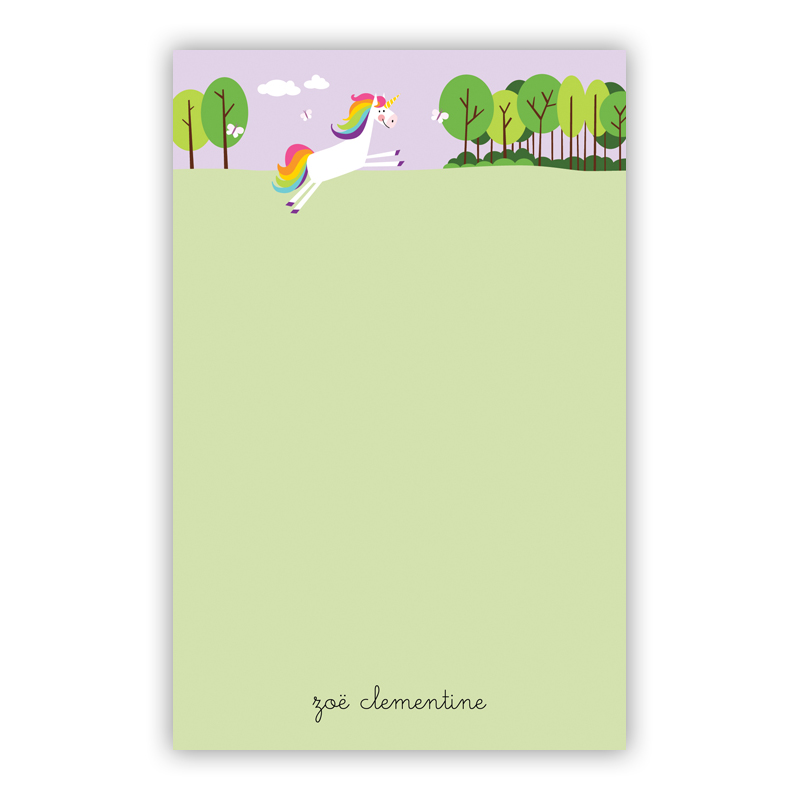 Unicorn 150 Refill Note Sheets, Personalized