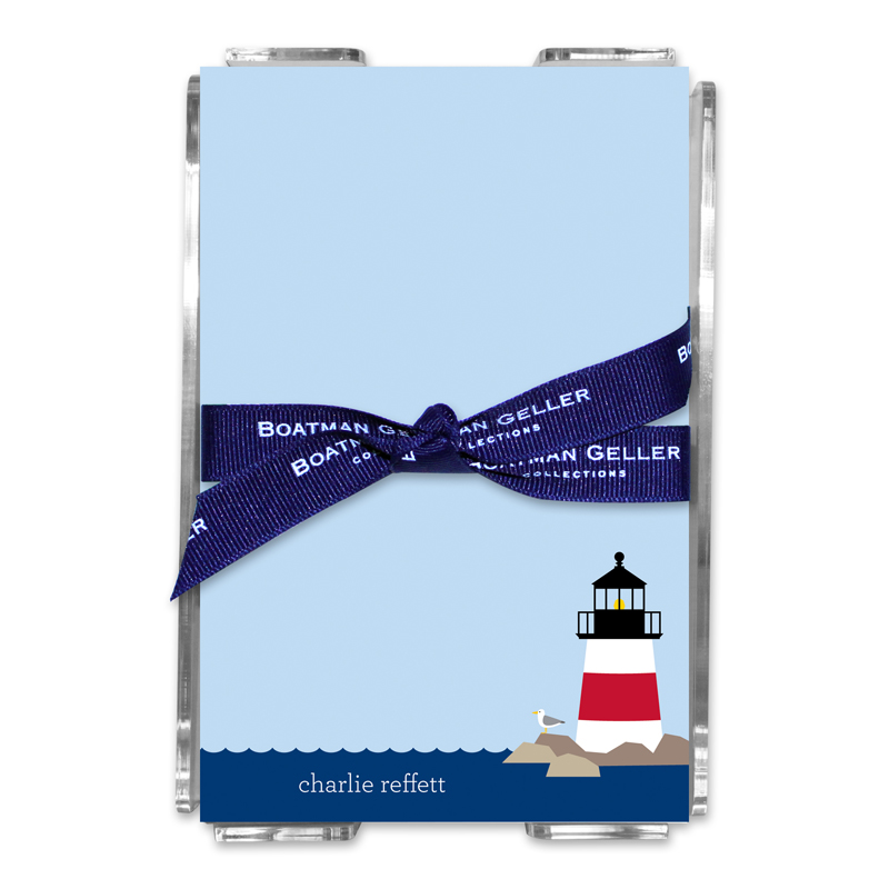 Personalized Lighthouse Note Sheets in Acrylic Holder