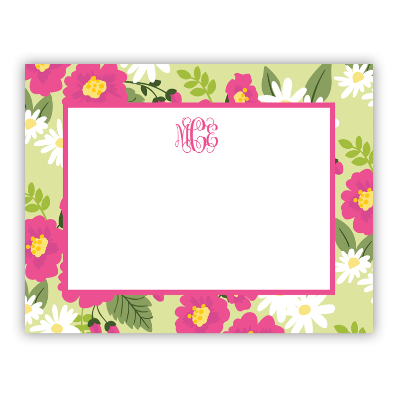 Lillian Floral Bright Small Flat Stationery Note
