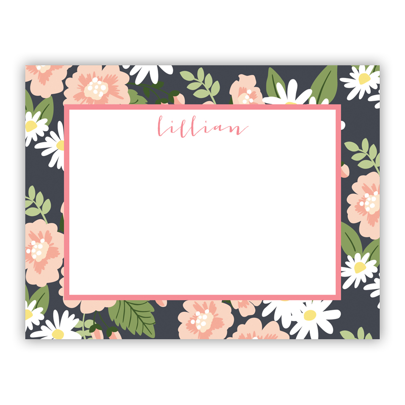 Lillian Floral Small Flat Stationery Note