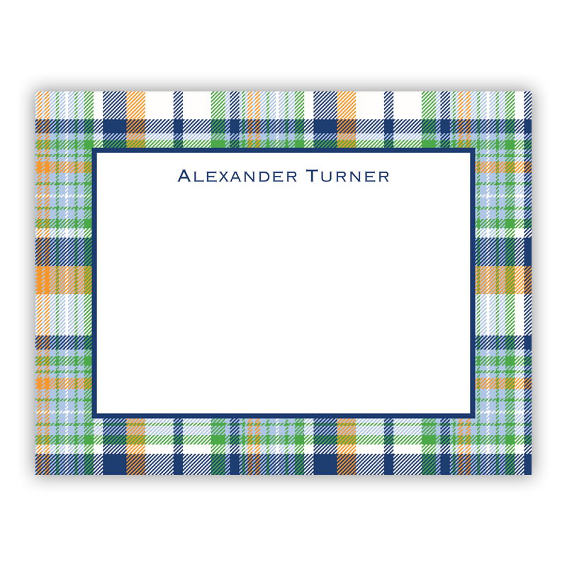Classic Madras Plaid Navy & Orange Small Flat Stationery Note