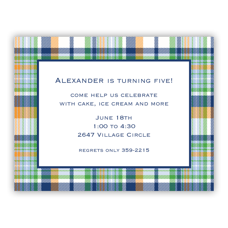 Classic Madras Plaid Navy & Orange Small Flat Invitation or Announcement