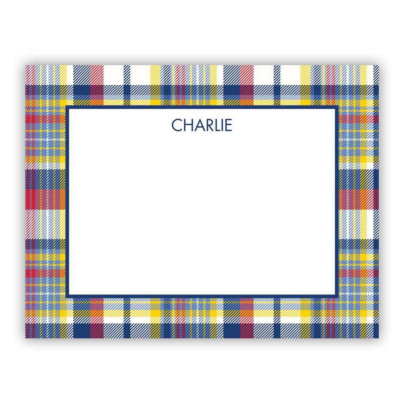 Classic Madras Plaid Navy & Red Small Flat Stationery Note