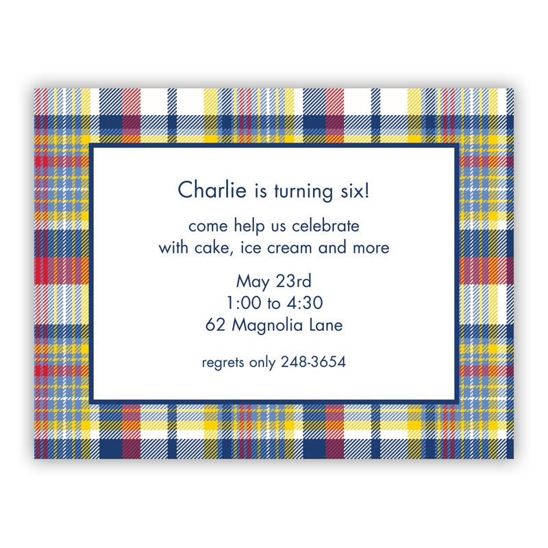 Classic Madras Plaid Navy & Red Small Flat Invitation or Announcement