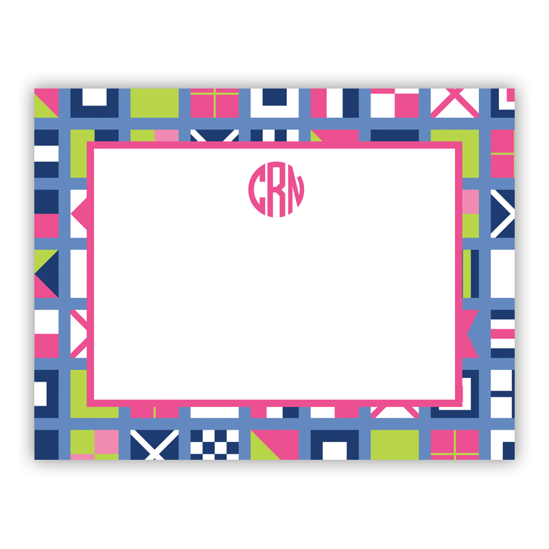 Nautical Flags Pink Small Flat Stationery Note