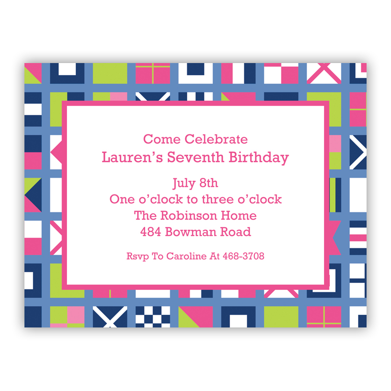 Nautical Flags Pink Small Flat Invitation or Announcement