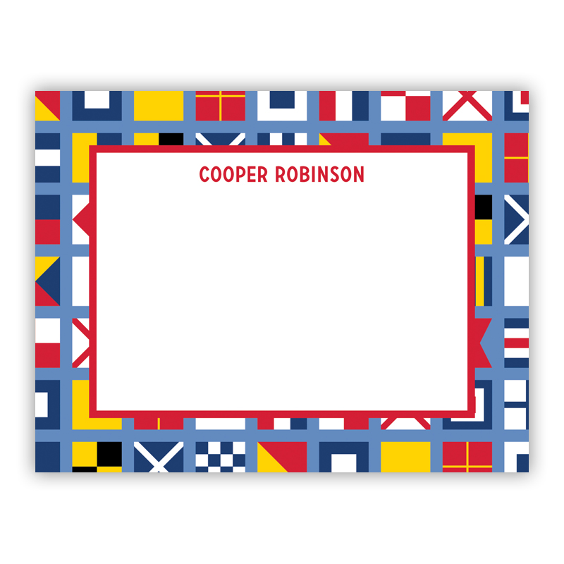 Nautical Flags Small Flat Stationery Note