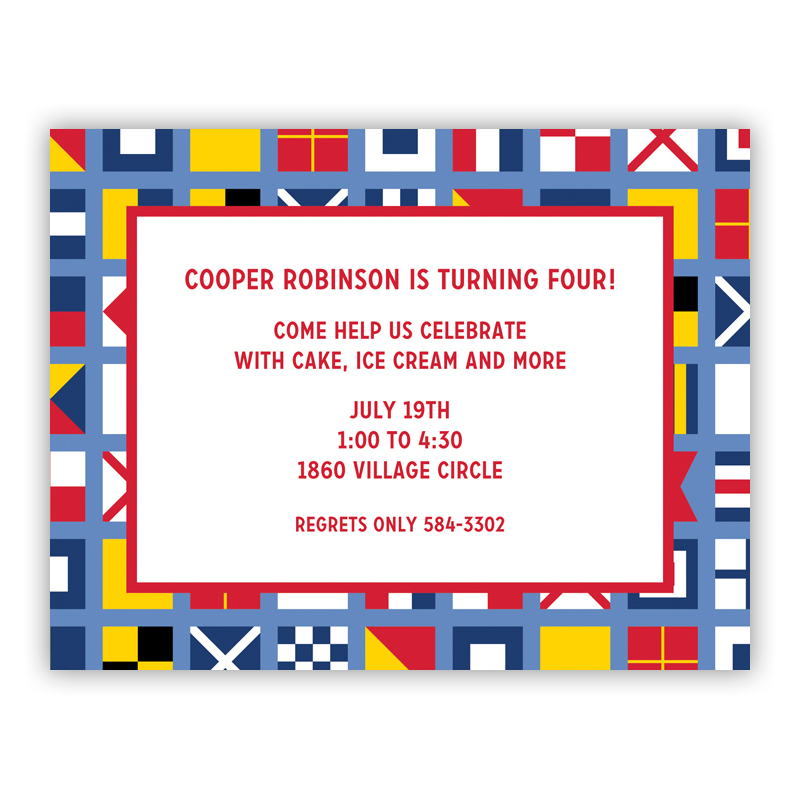 Nautical Flags Small Flat Invitation or Announcement