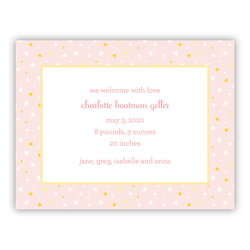 Twinkle Star Pink Small Flat Invitation or Announcement