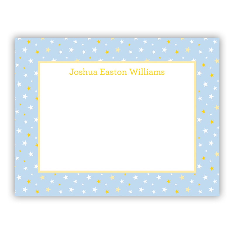 Twinkle Star Light Blue Small Flat Stationery Note