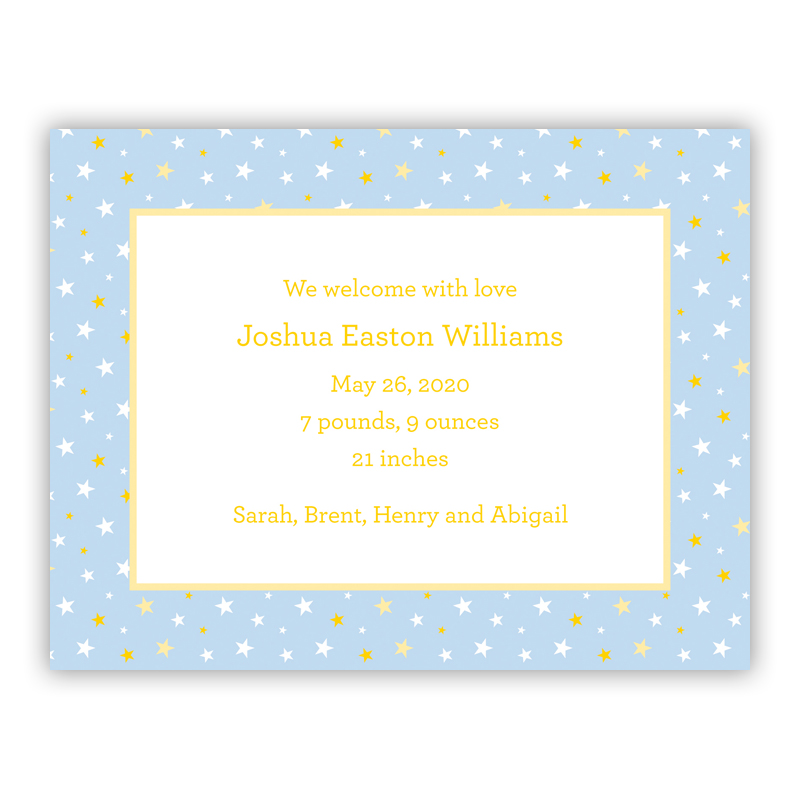 Twinkle Star Light Blue Small Flat Invitation or Announcement
