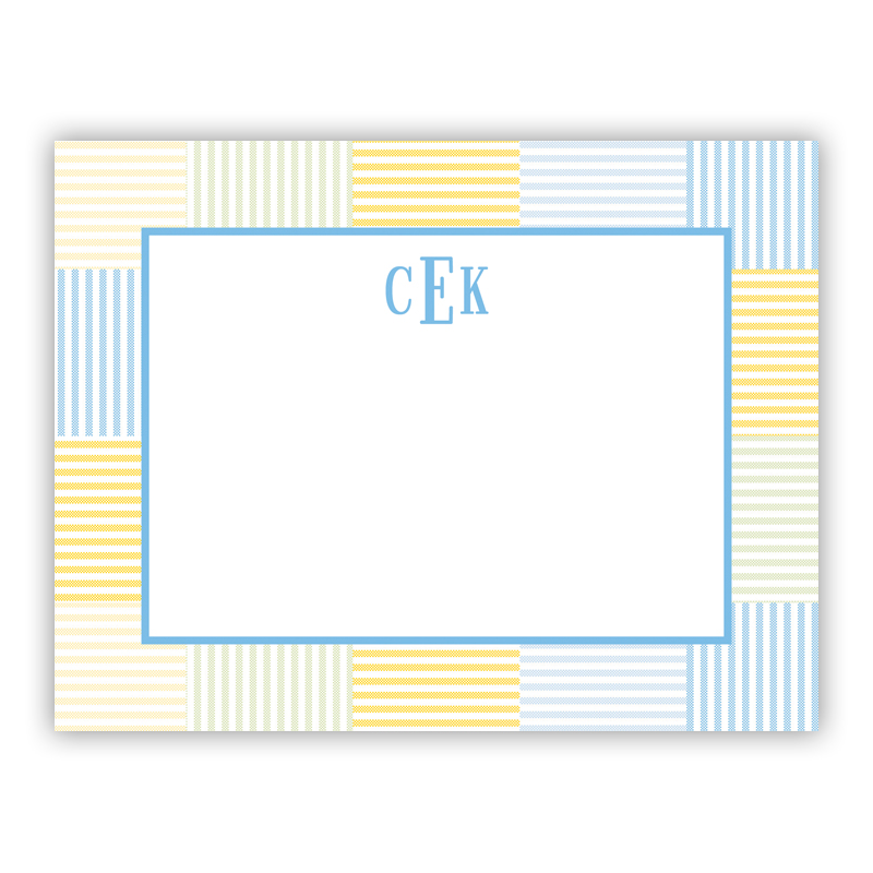 Seersucker Patch Light Blue Small Flat Stationery Note