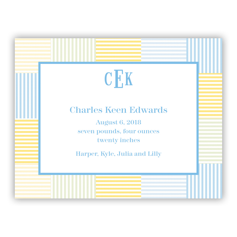 Seersucker Patch Light Blue Small Flat Invitation or Announcement