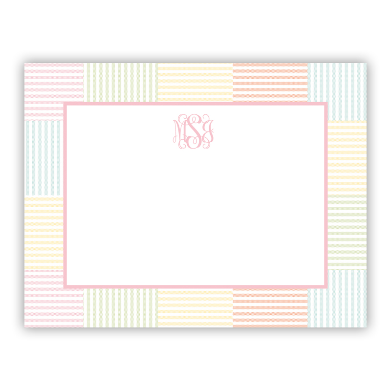 Seersucker Patch Light Pink Small Flat Stationery Note