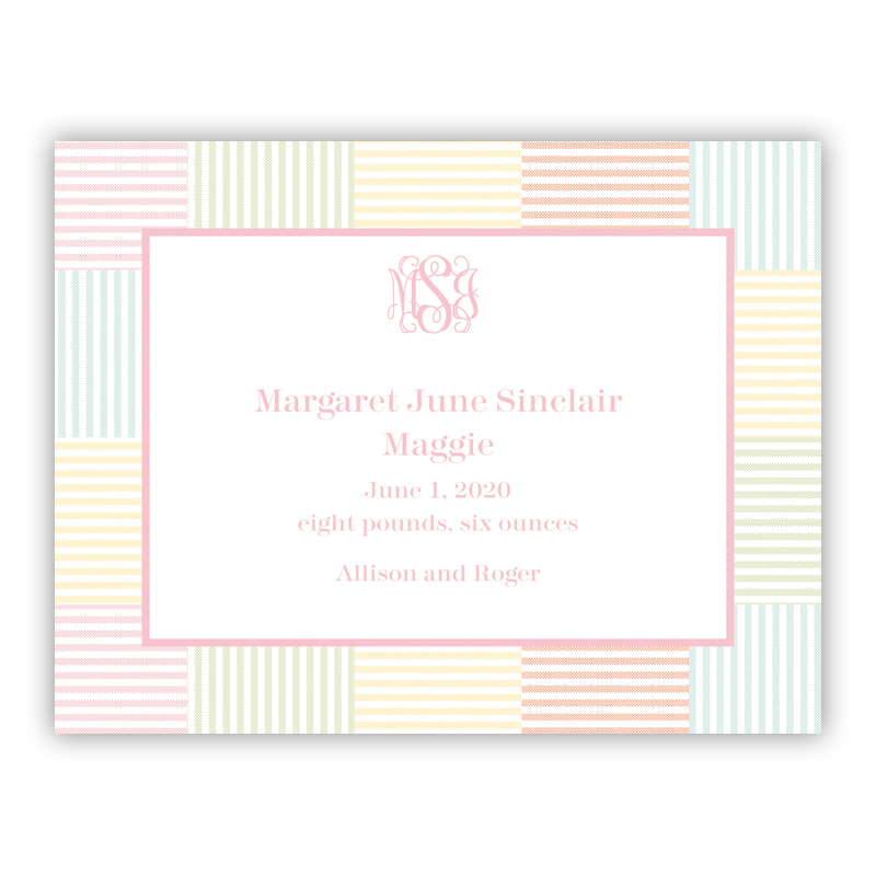 Seersucker Patch Light Pink Small Flat Invitation or Announcement