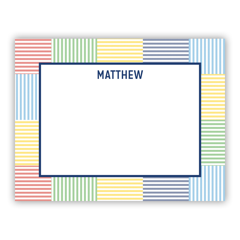 Seersucker Patch Blue Small Flat Stationery Note