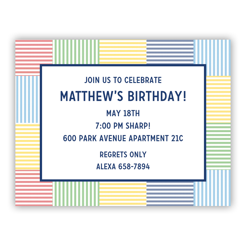 Seersucker Patch Blue Small Flat Invitation or Announcement