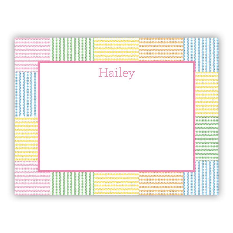 Seersucker Patch Pink Small Flat Stationery Note