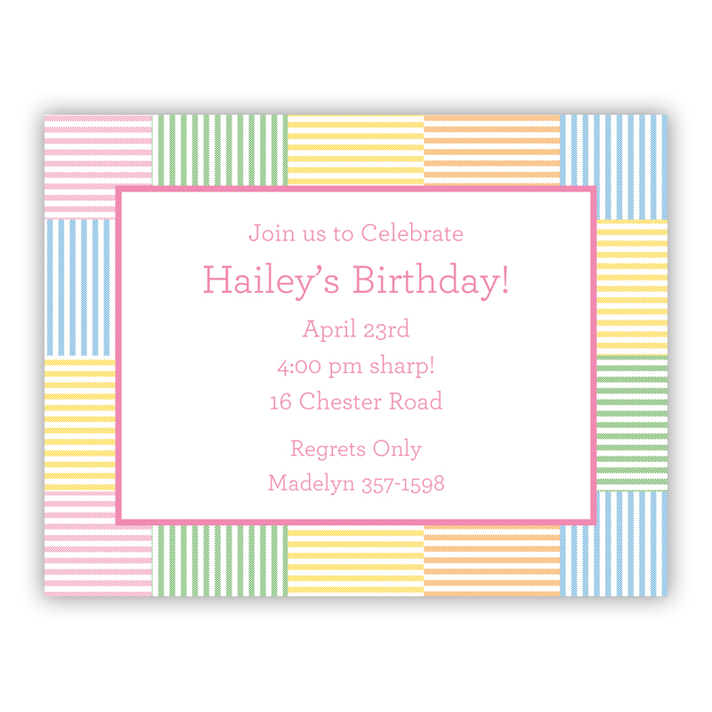 Seersucker Patch Pink Small Flat Invitation or Announcement