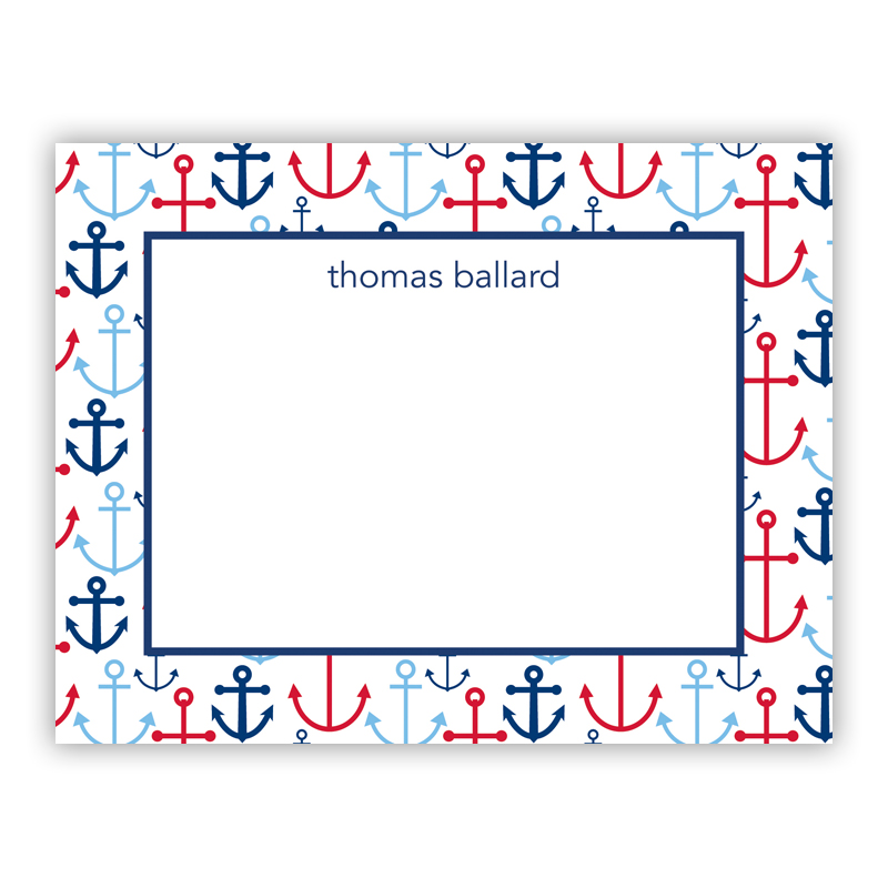 Happy Anchors Blue Small Flat Stationery Note