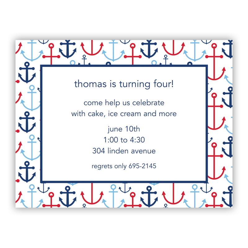 Happy Anchors Blue Small Flat Invitation or Announcement