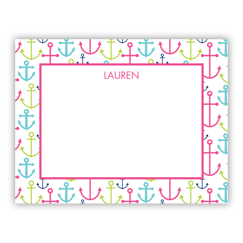 Happy Anchors Pink Small Flat Stationery Note