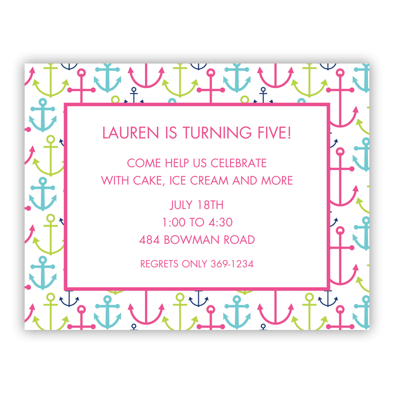 Happy Anchors Pink Small Flat Invitation or Announcement