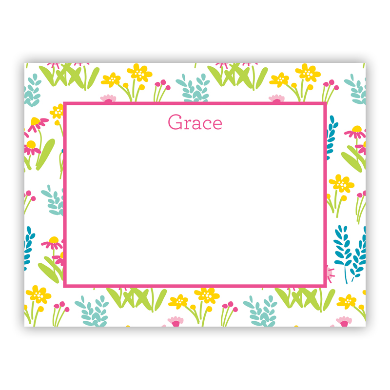 Flower Fields Pink Small Flat Stationery Note