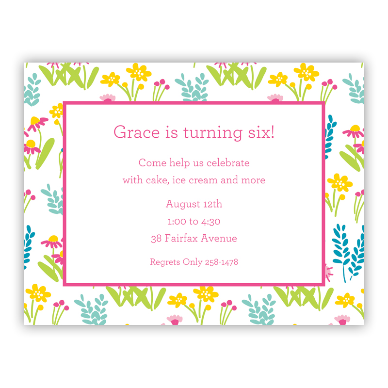 Flower Fields Pink Small Flat Invitation or Announcement