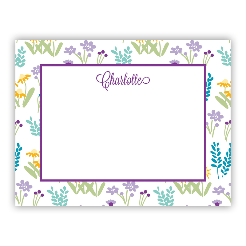 Flower Fields Purple Small Flat Stationery Note