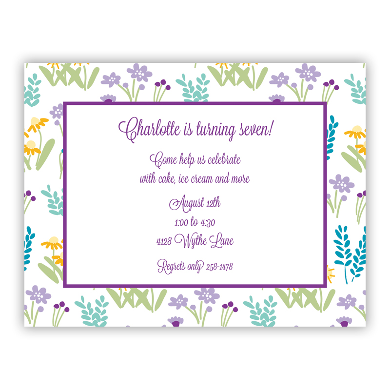 Flower Fields Purple Small Flat Invitation or Announcement