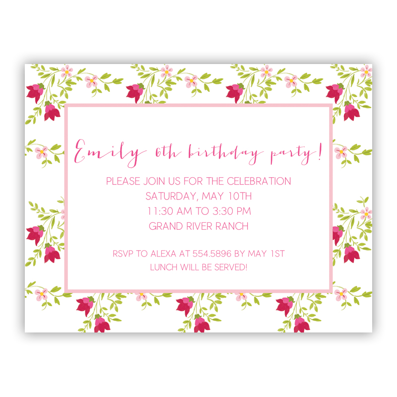 Camryn Floral Small Flat Invitation or Announcement
