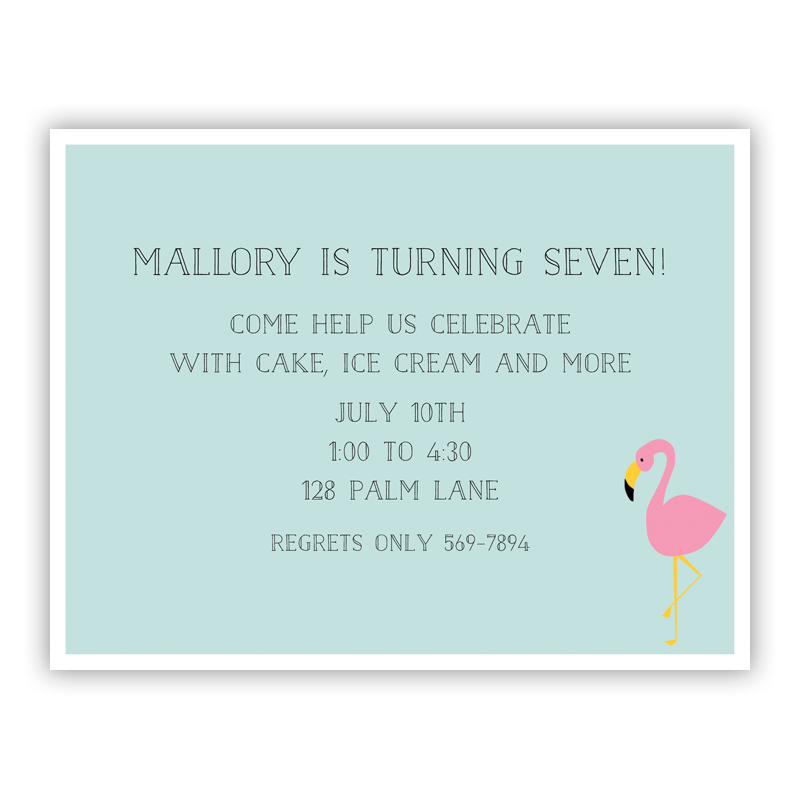 Flamingo Small Flat Invitation or Announcement