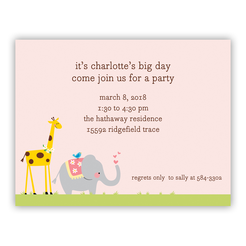 Animal Parade Small Flat Invitation or Announcement