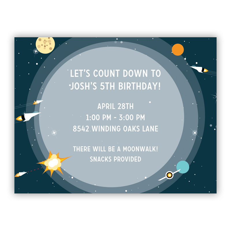 Galaxy Small Flat Invitation or Announcement