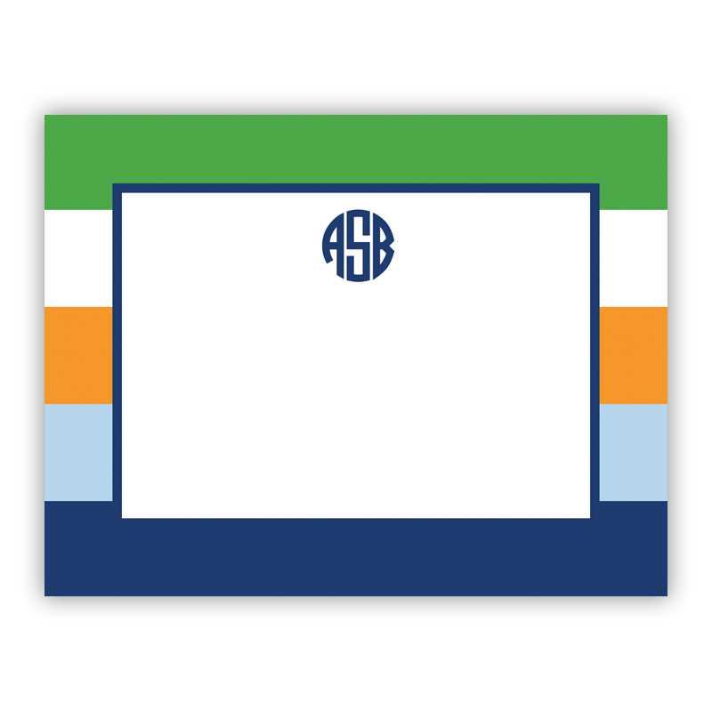 Bold Stripe Navy Orange & Kelly Small Flat Stationery Note