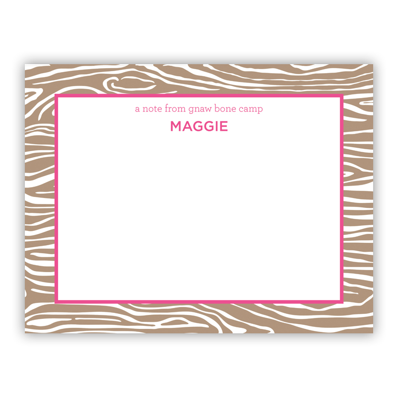 Wood Grain Pink Small Flat Stationery Note