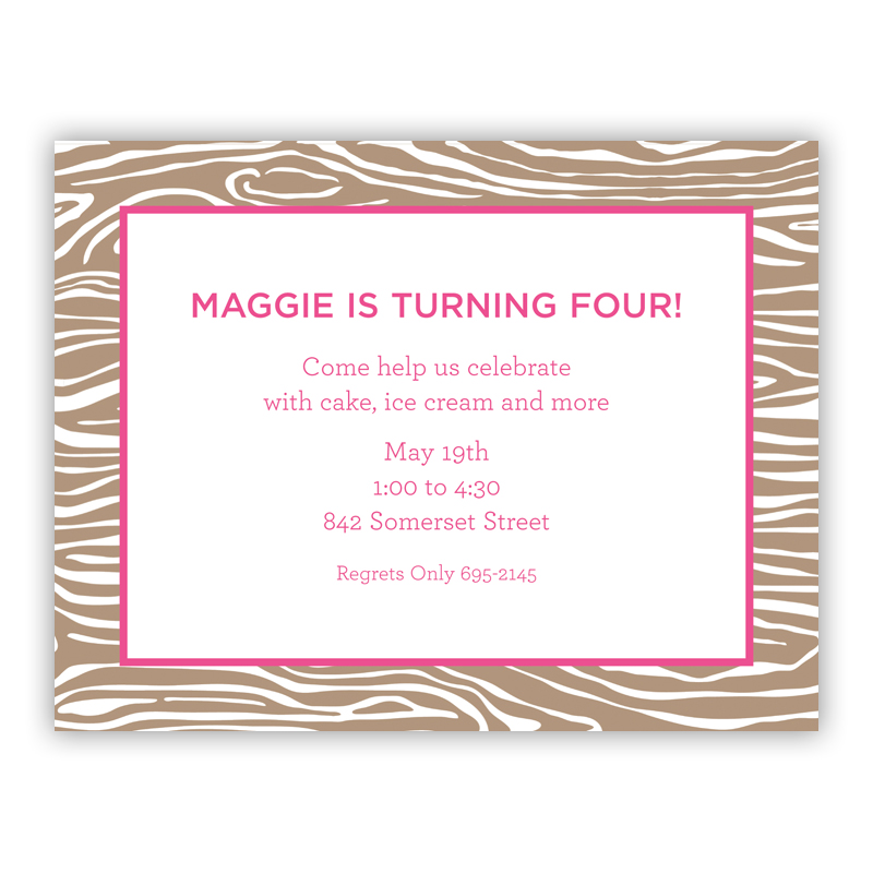 Wood Grain Pink Small Flat Invitation or Announcement