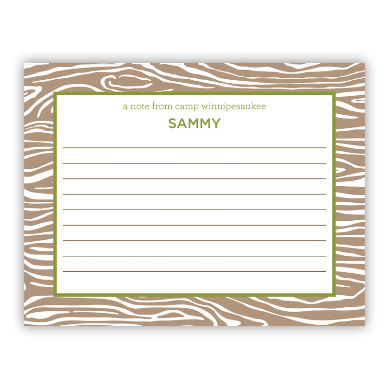 Wood Grain Green Small Flat Stationery Note