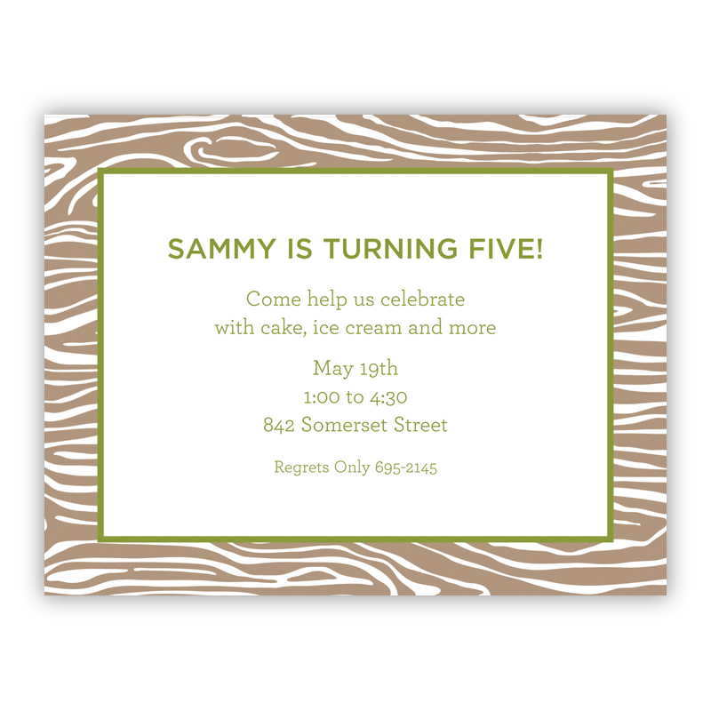 Wood Grain Green Small Flat Invitation or Announcement