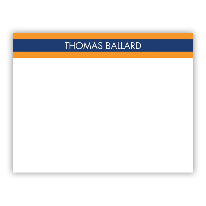 Top Stripe Navy Small Flat Stationery Note