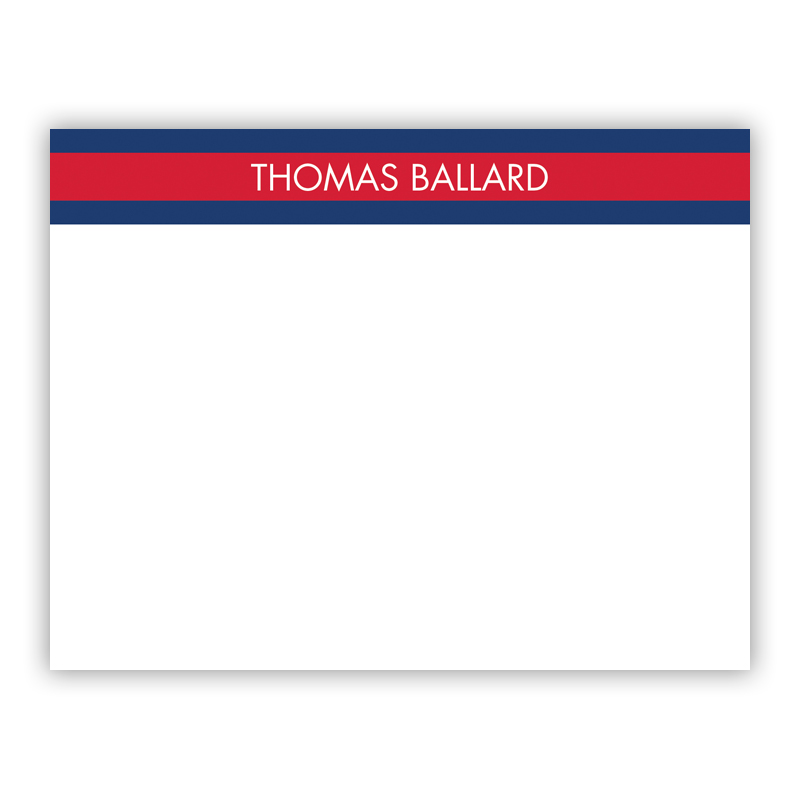 Top Stripe Red Small Flat Stationery Note