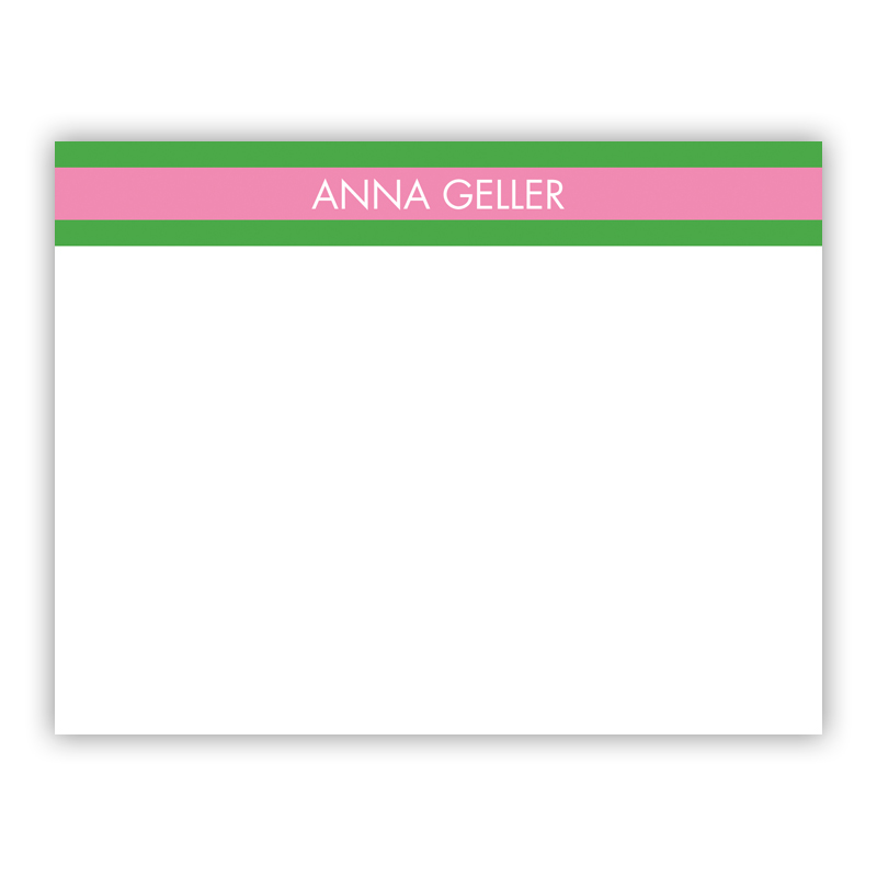 Top Stripe Pink Small Flat Stationery Note