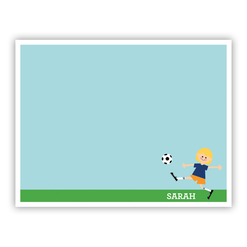 Soccer Player Customized Kid Small Flat Stationery Note