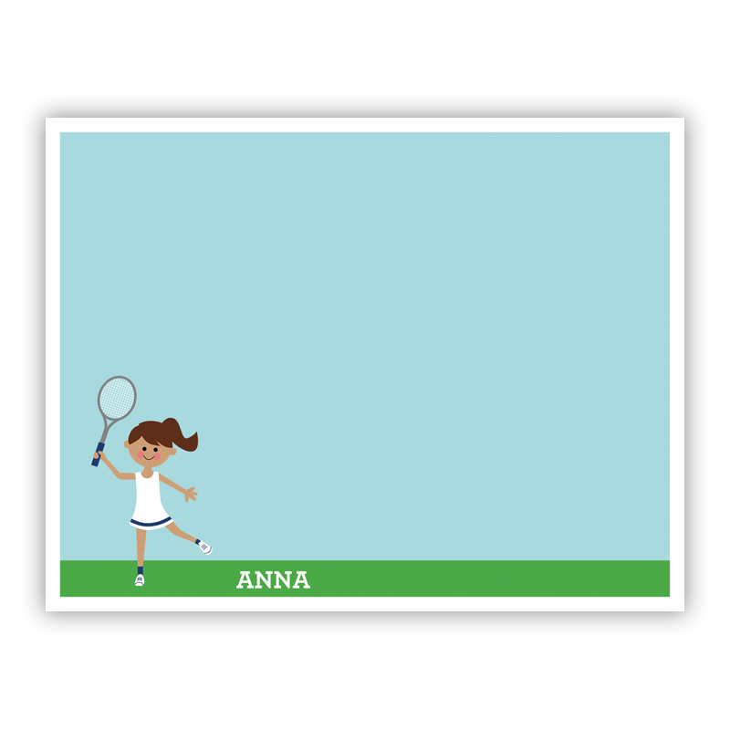 Tennis Player Customized Kid Small Flat Stationery Note