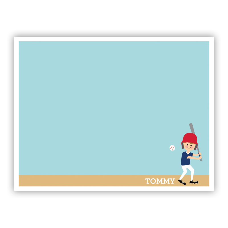 Baseball Player Customized Kid Small Flat Stationery Note