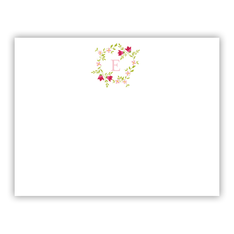Camryn Floral Wreath Small Flat Stationery Note