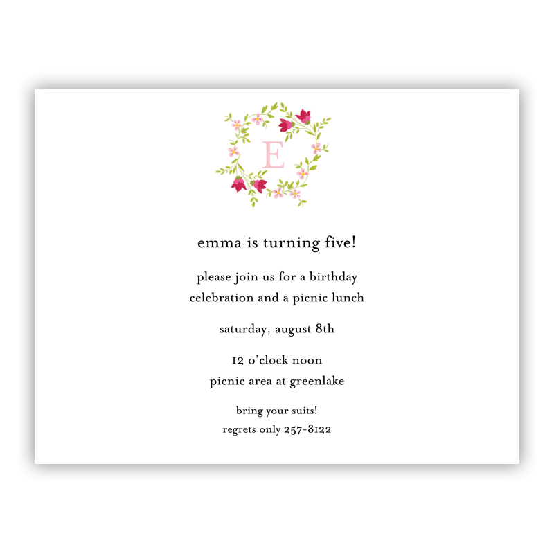 Camryn Floral Wreath Small Flat Invitation or Announcement
